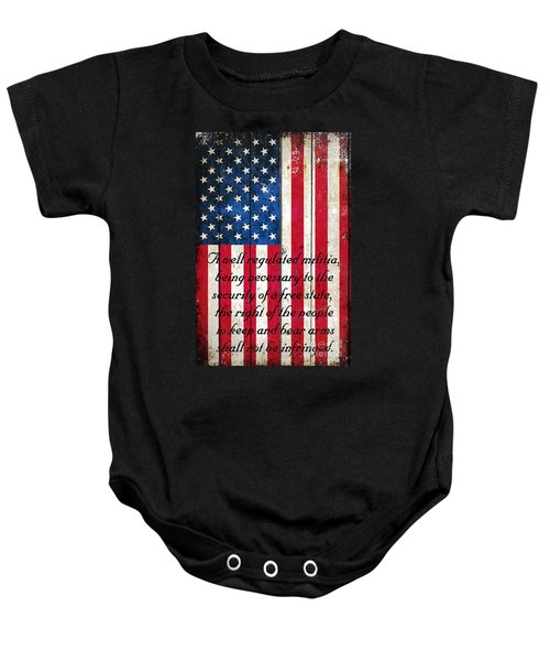 Vintage American Flag And 2nd Amendment On Old Wood Planks Baby Onesie