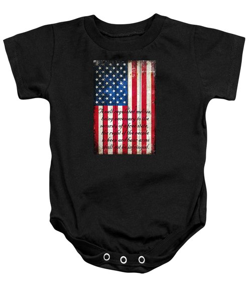 Vintage American Flag And 2nd Amendment On Old Wood Planks Baby Onesie