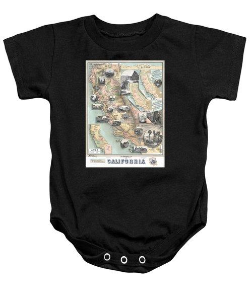 Vintage California Map Baby Onesie