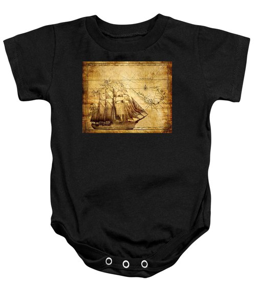 Vintage Ship Map Baby Onesie