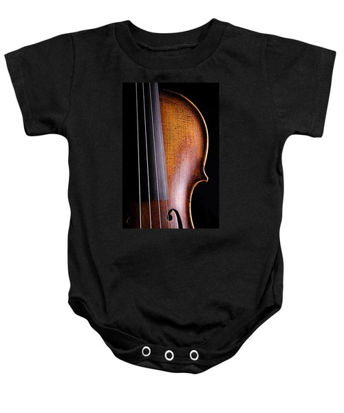 Violin Isolated On Black Baby Onesie