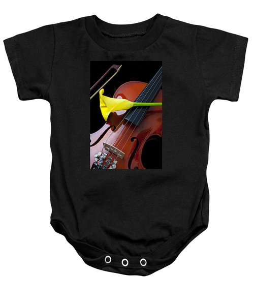 Violin With Yellow Calla Lily Baby Onesie