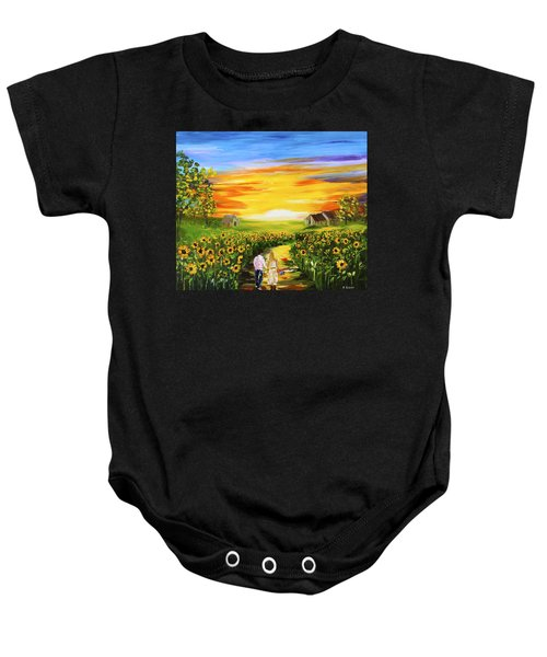 Walking Through The Sunflowers Baby Onesie