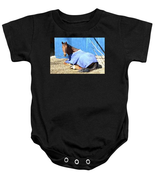 Warm Winter Day At The Horse Barn Baby Onesie