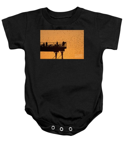 Watching The Sunset And Starlings In Aberystwyth Wales Baby Onesie