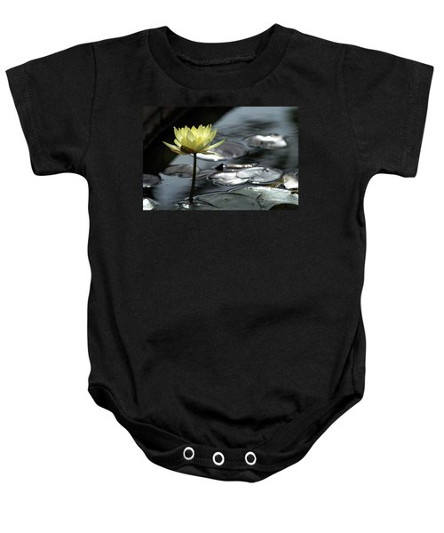 Water Lily And Silver Leaves Baby Onesie