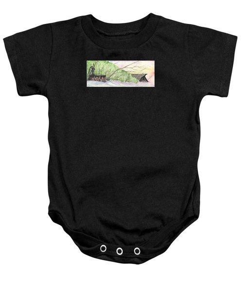 Watercolor Barn Baby Onesie