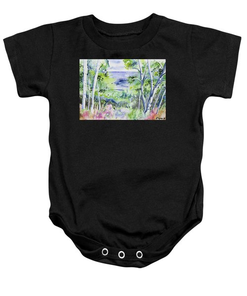 Watercolor - Lake Superior Impression Baby Onesie