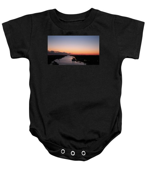Waterway Sunset #1 Baby Onesie