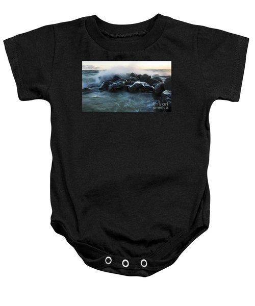 Wave Crashes Rocks 7959 Baby Onesie