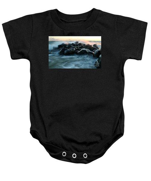 Wave Crashes Rocks 7941 Baby Onesie