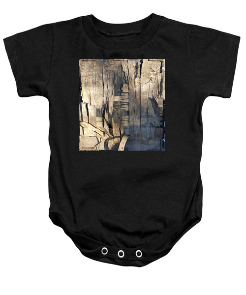 Weathered Plywood Composition Baby Onesie