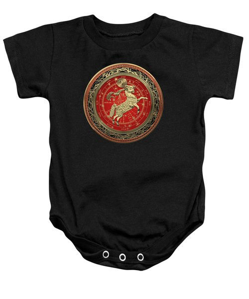 Western Zodiac - Golden Aries -the Ram On Black Velvet Baby Onesie