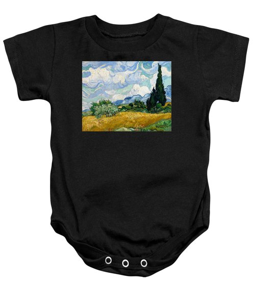 Wheat Field With Cypresses Baby Onesie