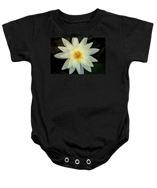 White And Yellow Water Lily Baby Onesie