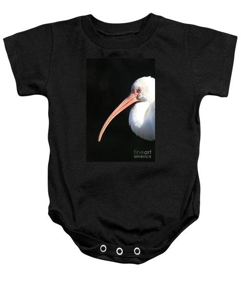 White Ibis Profile Baby Onesie by Carol Groenen