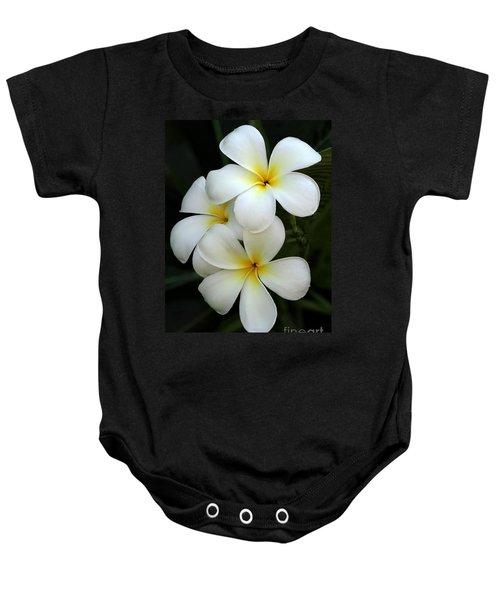 White Plumeria Baby Onesie