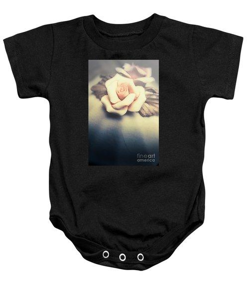 White Porcelain Rose Baby Onesie