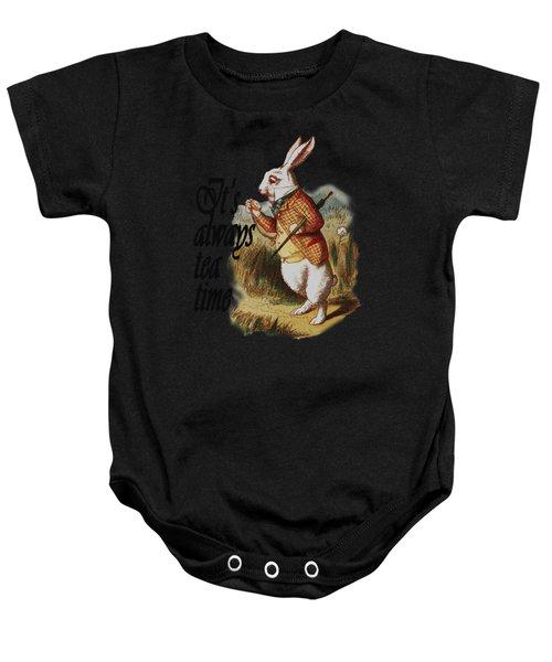 White Rabbit Alice In Wonderland Vintage Art Baby Onesie