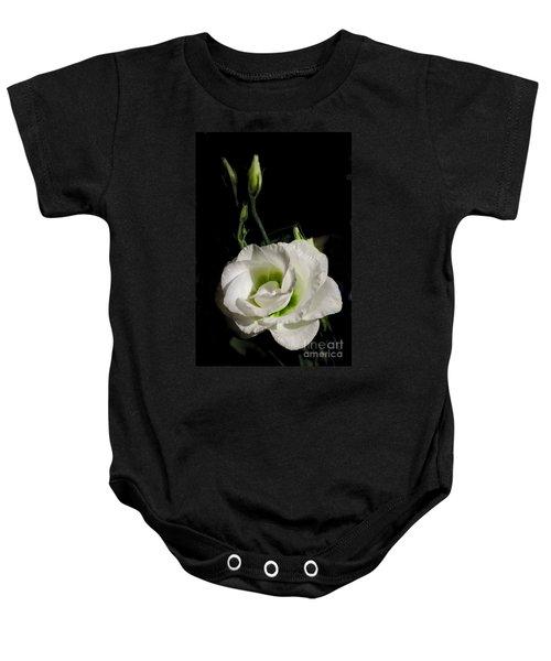 White Rose On Black Baby Onesie