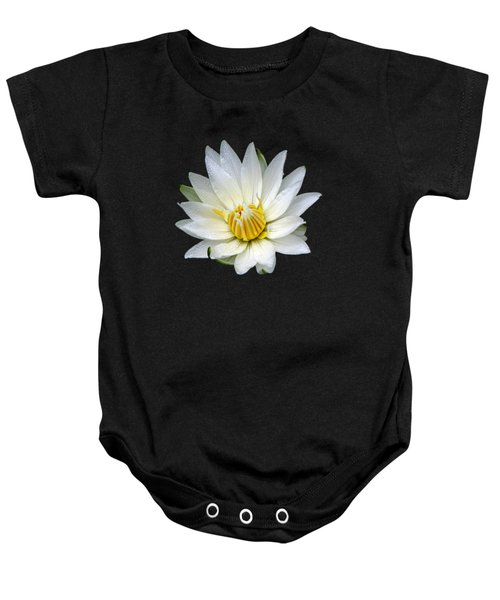 White Waterlily With Dewdrops Baby Onesie