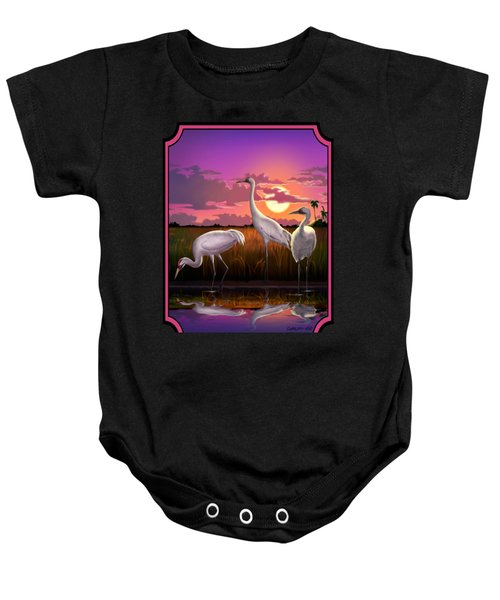 Whooping Cranes Tropical Florida Everglades Sunset Birds Landscape Scene Purple Pink Print Baby Onesie by Walt Curlee