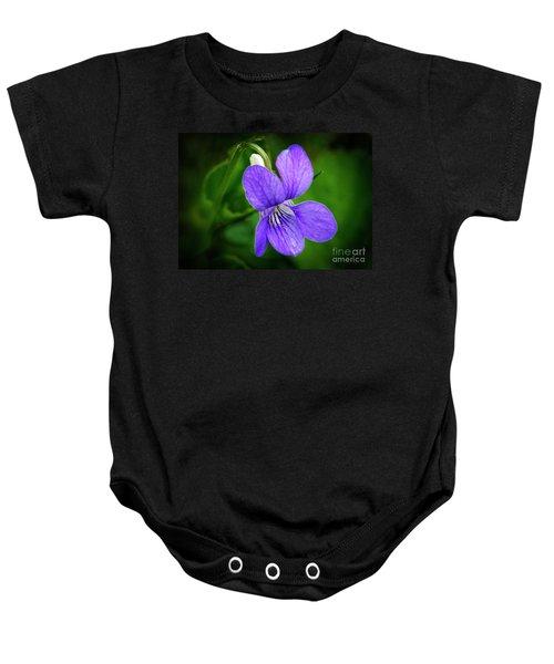 Wild Violet Flower Baby Onesie