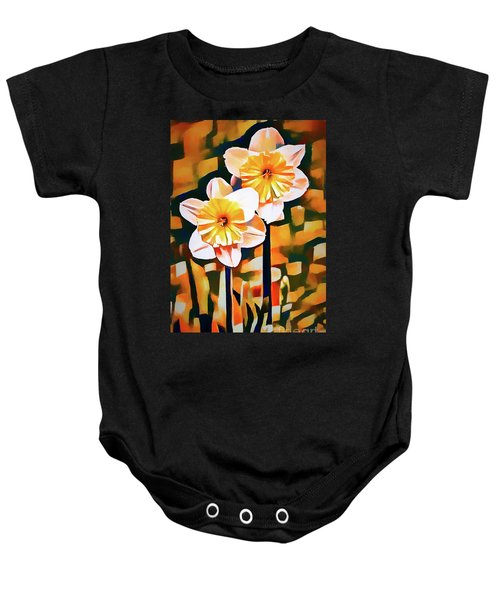 Wildly Abstract Daffodil Pair Baby Onesie
