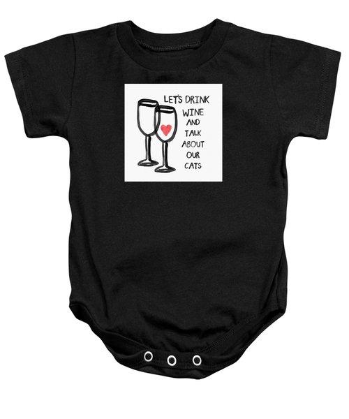 Wine And Cats- Art By Linda Woods Baby Onesie