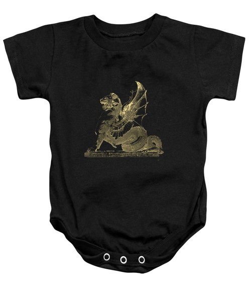 Winged Dragon Chimera From Fontaine Saint-michel, Paris In Gold On Black Baby Onesie by Serge Averbukh