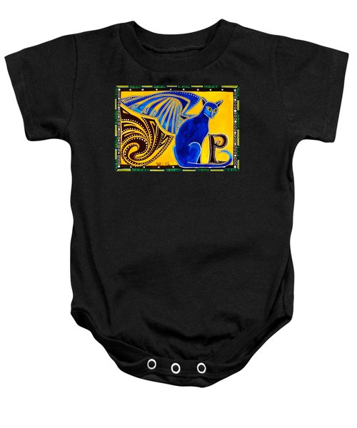 Baby Onesie featuring the painting Winged Feline - Cat Art With Letter P By Dora Hathazi Mendes by Dora Hathazi Mendes