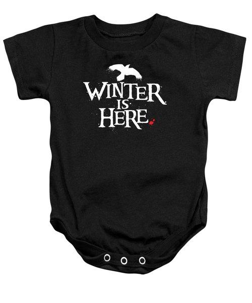 Winter Is Here - White Raven Baby Onesie