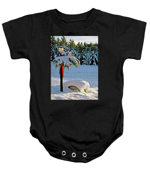 Winter Lamp Post In The Snow With Christmas Bough Baby Onesie