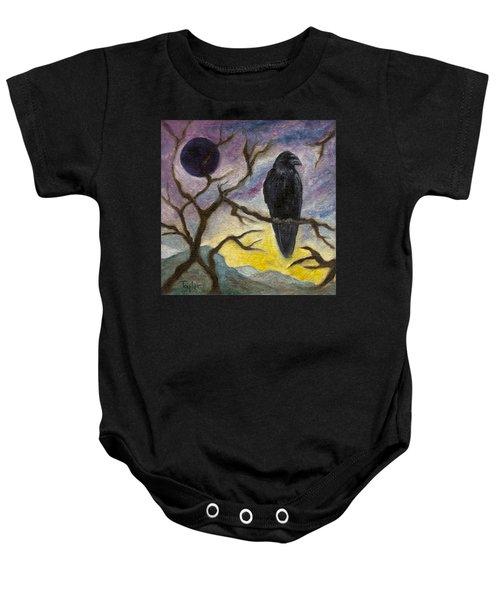 Winter Moon Raven Baby Onesie