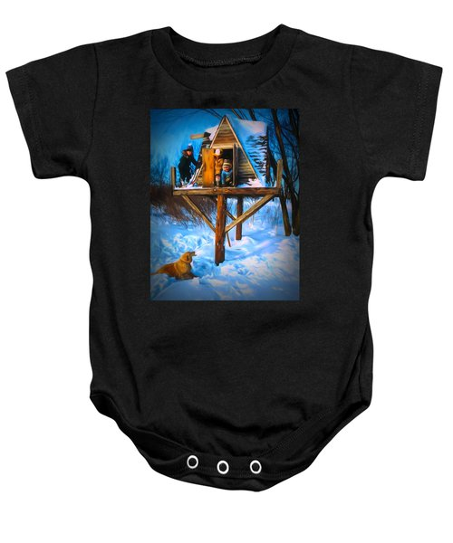 Winter Scene Three Kids And Dog Playing In A Treehouse Baby Onesie