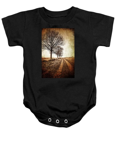 Winter Track With Trees Baby Onesie