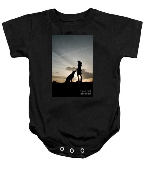 Woman And Dog  Baby Onesie