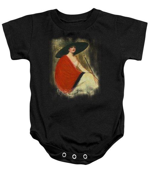Woman Wearing Hat Baby Onesie