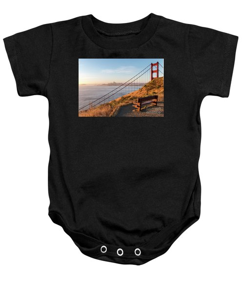 Wooden Bench Overlooking Downtown San Francisco With The Golden  Baby Onesie