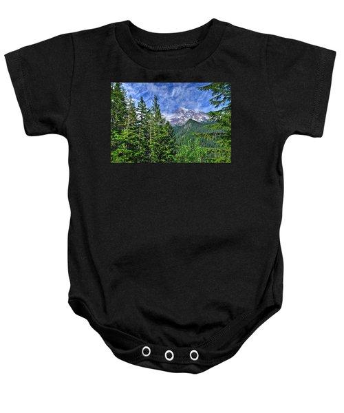 Woods Surrounding Mt. Rainier Baby Onesie