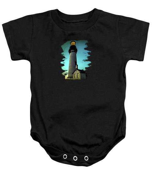 Yaquina Head Lighthouse At Sunset Baby Onesie