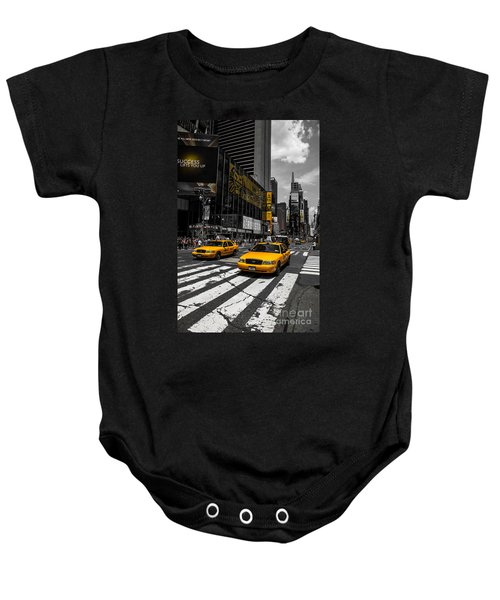 Yellow Cabs Cruisin On The Times Square  Baby Onesie