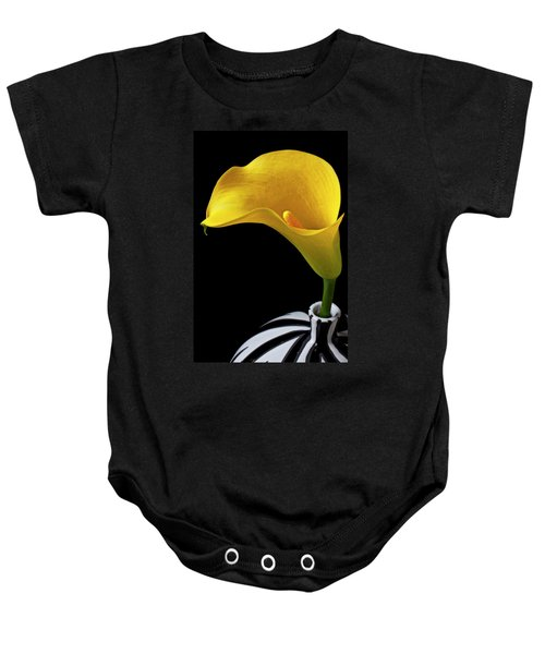 Yellow Calla Lily In Black And White Vase Baby Onesie
