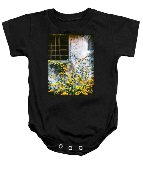 Baby Onesie featuring the photograph Yellow Flowers And Window by Silvia Ganora