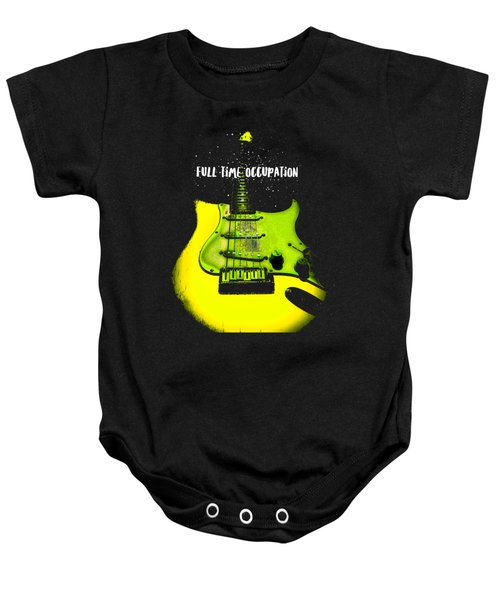 Baby Onesie featuring the photograph Yellow Guitar Full Time Occupation by Guitar Wacky