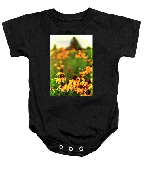 Yellow Prairie Coneflowers Baby Onesie