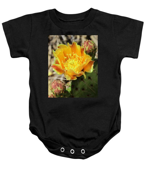 Yellow Prickly Pear Cactus Baby Onesie