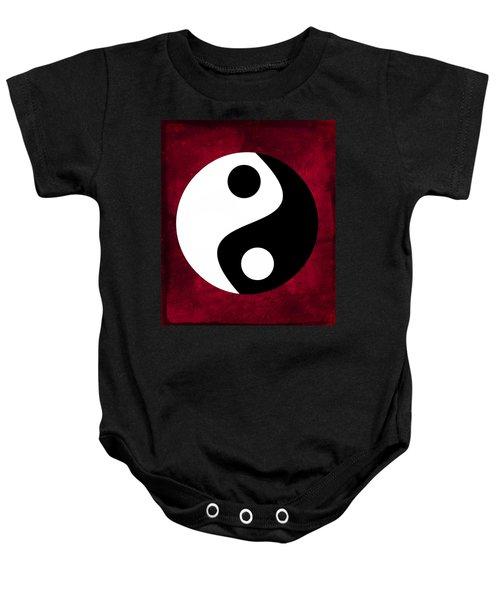 Yin And Yang - Dark Red Baby Onesie
