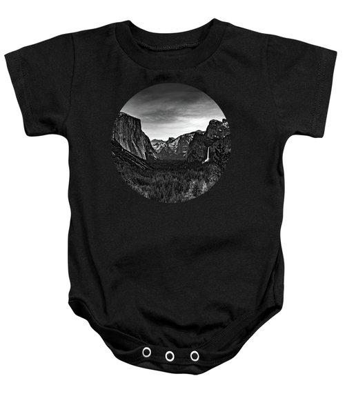 Yosemite Sunrise, Black And White Baby Onesie by Adam Morsa