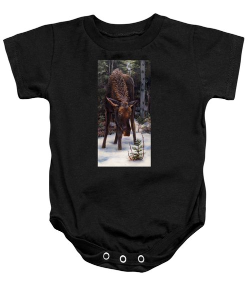 Young Moose And Snowy Forest Springtime In Alaska Wildlife Home Decor Painting Baby Onesie